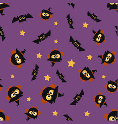 halloween pattern with owl vector image