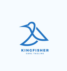 kingfisher bird abstract icon label or vector image