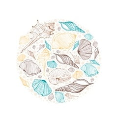 Round frame seashells vector image
