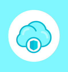 secure cloud icon in flat style vector image vector image