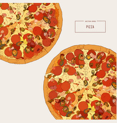 top view of pizza sketch vector image