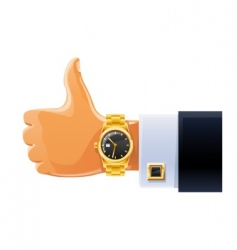 watch on hand vector image vector image