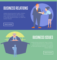 business relations and business issues banners vector image vector image