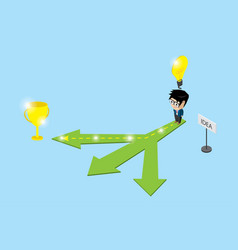 businessman follow the right way to trophy vector image vector image