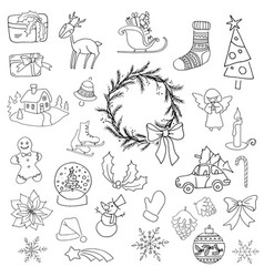 christmas set icon elements can be used for advent vector image vector image