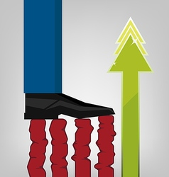 Foot of businessman tread commerce chart vector
