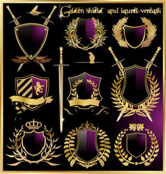 golden shield and laurel wreath vector image