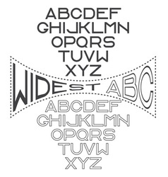 retro wide alphabet for labels vector image