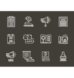 Simple white line accounting service icons vector image