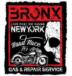 vintage motorcycle skull poster t shirt design vector image