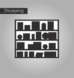 Black and white style icon bookshelf vector