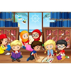 Children reading books in library vector image