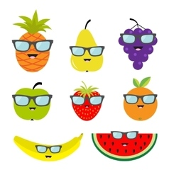 Fruit and berry set eyeglasses sunglasses Cartoon vector image vector image