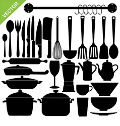 kitchen tools silhouettes vector image vector image