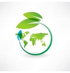 map of the earth and leaves icon vector image vector image
