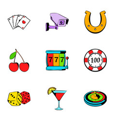 roulette icons set cartoon style vector image