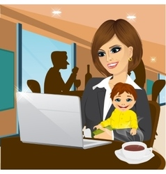 smiling mother working on laptop in cafe vector image vector image