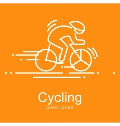 Sport bike and rider icon thin line vector image