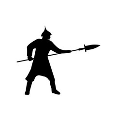 warrior silhouette on white background vector image vector image