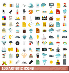 100 artistic icons set flat style vector