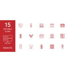 15 remote icons vector image