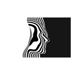 3d abstract human head made black vector