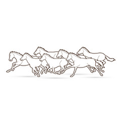 7 horses running cartoon graphic vector image