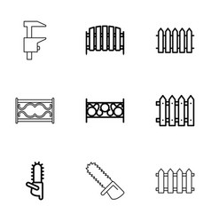 9 timber icons vector image