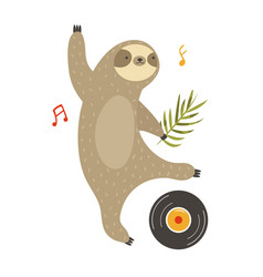 A funny sloth dancing on a vector