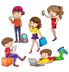 A group of people using hitech gadgets vector image