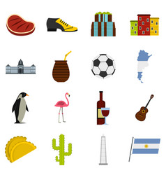Argentina travel items icons set in flat style vector