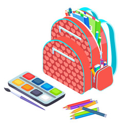 backpack with notebook and pen school vector image