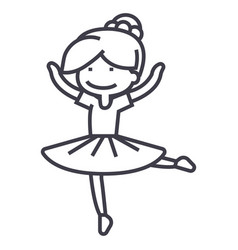 Ballerina girlbalet dancer line icon sign vector