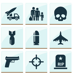 Battle icons set collection of target fugitive vector