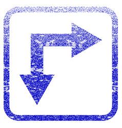 Bifurcation arrow right down framed textured icon vector