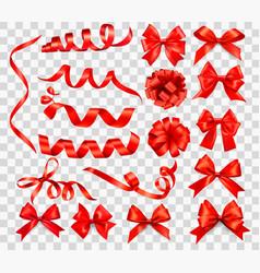 big set red gift bows with ribbons vector image