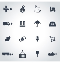 black logistic icon set vector image
