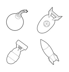 Bomb icon set outline style vector