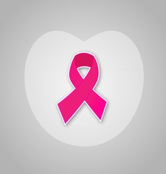 Breast cancer ribbon with heart background vector