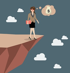 Business woman walk straight into the abyss vector