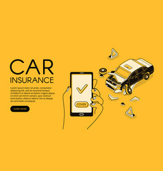 Car accident insurance app vector