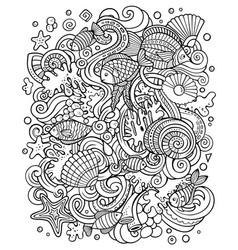 cartoon doodles underwater world funny vector image