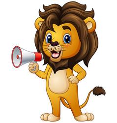 Cartoon lion holding a loudspeaker vector