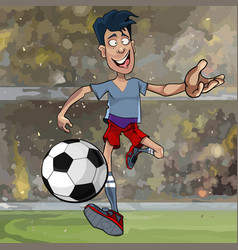 Cartoon male soccer player running with a ball vector