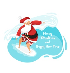 cartoon style of Santa surfer riding the wave vector image