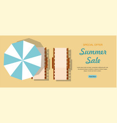 Chaise lounge and umbrella summer sale web banner vector