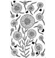 chamomile - flower black and white vector image