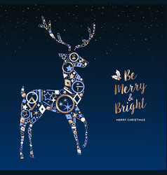 Christmas deer made of copper icons greeting card vector