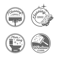 Cleaning service four black round badges vector