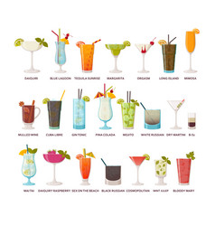 Cocktails collection classic and tropical vector